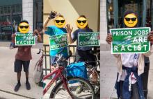 """Composite of three pictures: first depicting a black man in shorts holding a poster that reads """"prison jobs are racist"""". Center photo is two white bicyclists holding posters that say """"prison jobs are wasteful"""" and """"prison jobs are corrupt"""". The third photo is of a black houseless man holding a poster that says """"prison jobs are racist""""."""